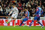 Real Madrid´s Cristiano Ronaldo and Levante UD´s Antonio Garcia Aranda during 2014-15 La Liga match between Real Madrid and Levante UD at Santiago Bernabeu stadium in Madrid, Spain. March 15, 2015. (ALTERPHOTOS/Luis Fernandez)