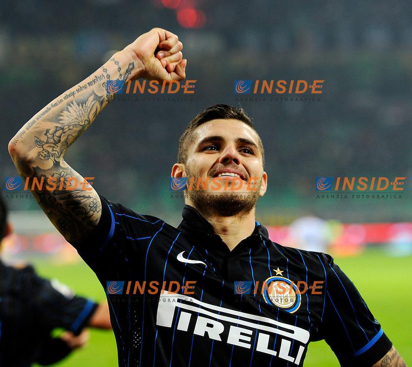 Esultanza gol di Mauro Icardi Inter 1-0. Celebration goal<br /> Milano 29-10-2014 Stadio Giuseppe Meazza - Football Calcio Serie A Inter - Sampdoria. Foto Giuseppe Celeste / Insidefoto