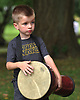 Nathan Traina, 6, of Centerport hopes his percussion skills will one day take him to a galaxy far, far away as he plays in a drumming workshop during the third annual Coltrane Music Festival at Hecksher Park in Huntington on Saturday, July 22, 2017.