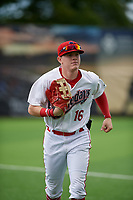Auburn Doubledays outfielder Jake Randa (16) jogs to the dugout during a NY-Penn League game against the Batavia Muckdogs on September 2, 2019 at Falcon Park in Auburn, New York.  Batavia defeated Auburn 7-0.  (Mike Janes/Four Seam Images)