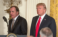 United States President Donald J. Trump, right, and Prime Minister Stefan Lofven of Sweden, left, arrive hold a joint press conference in the East Room of the White House in Washington, DC on Tuesday, March 6, 2018.<br /> CAP/MPI/RS<br /> &copy;RS/MPI/Capital Pictures
