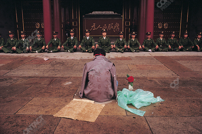 Pro-democracy hunger striker, Tiananmen Square. Beijing, China, May 1989