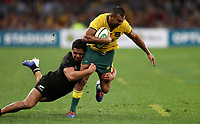 Kurtley Beale of the Wallabies is tackled by Anton Lienert-Brown of the All Blacks during the Rugby Championship match between Australia and New Zealand at Optus Stadium in Perth, Australia on August 10, 2019 . Photo: Gary Day / Frozen In Motion