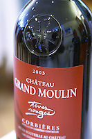 Cuvee Terres Rouges 2003 red. With the Languedoc Cathar cross embossed on the neck. Chateau Grand Moulin. In Lezignan-Corbieres. Les Corbieres. Languedoc. France. Europe. Bottle.