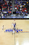SIOUX FALLS, SD - MARCH 10: The University of South Dakota tips off with South Dakota State University in the first half of the Summit League Championship Tournament game Tuesday at the Denny Sanford Premier Center in Sioux Falls, SD. (Photo by Dick Carlson/Inertia)