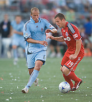 12 September 2009: Colorado Rapids midfielder Greg Dalby #6 and Toronto FC forward Chad Barrett #19 in action during MLS action at BMO Field Toronto in a game between Colorado Rapids and Toronto FC. .Toronto FC won 3-2..