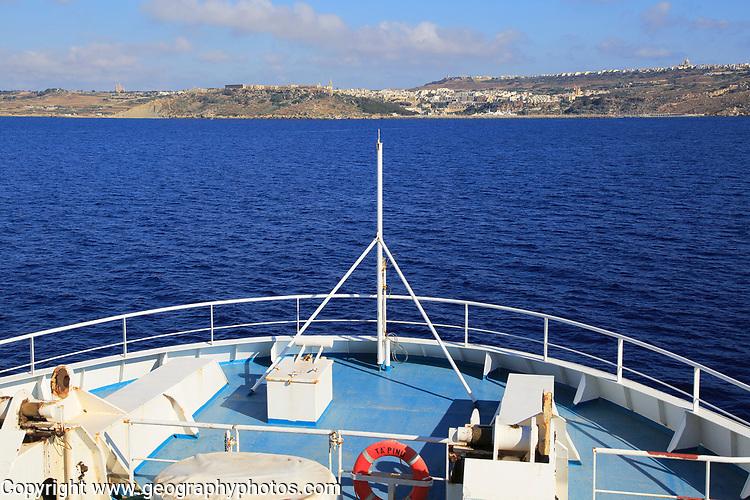 Bow of Gozo Channel Line ferry ship approaching Mgarr, Gozo, Malta