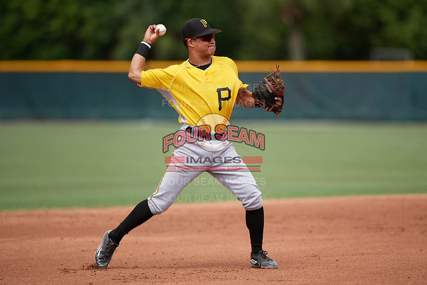 Pittsburgh Pirates shortstop Francisco Acuna (3) warmup throw to first base during an Instructional League intrasquad black and gold game on October 3, 2017 at Pirate City in Bradenton, Florida.  (Mike Janes/Four Seam Images)