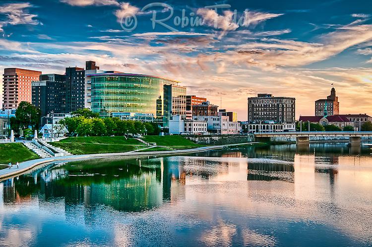 Dayton Ohio skyline color photo, cityscape showing Downtown Dayton Ohio and river.