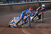 Heat 6 Brady Kurtz of Poole Pirates leads Max Fricke of Belle Vue Aces during Poole Pirates vs Belle Vue Aces, Elite League Speedway at The Stadium on 11th April 2018
