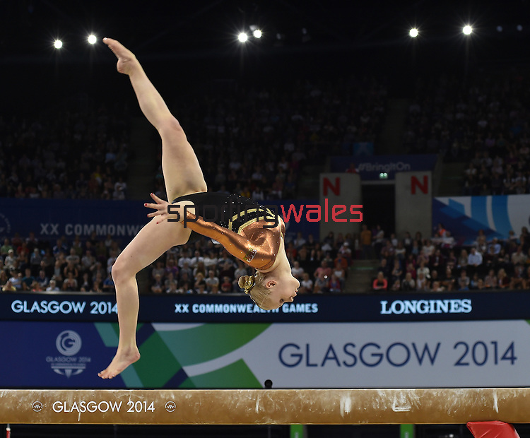 Wales' Elizabeth Beddoe competes in the women's gymnastics artistic balance beam final<br /> <br /> Photographer Chris Vaughan/Sportingwales<br /> <br /> 20th Commonwealth Games - Day 9 - Friday 1st August 2014 - Gymnastics - SECC - Glasgow - UK