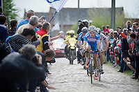 Tim De Troyer (BEL/Wanty-GroupeGobert) leading what is left from an early breakaway group<br /> <br /> Paris-Roubaix 2014