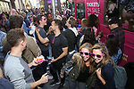 'Mean Girls' cast members visit the 'Mean Girls' themed Food Truck in celebration of 'Mean Girls' Box Office Opening Day on Broadway in Times Square on October 3, 2017 in New York City.