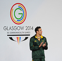 Republic of South Africa's Chad le Clos on the podium after winning the men's 200m butterfly<br /> <br /> Photographer Chris Vaughan/CameraSport<br /> <br /> 20th Commonwealth Games - Day 3 - Saturday 26th July 2014 - Swimming - Tollcross International Swimming Centre - Glasgow - UK<br /> <br /> © CameraSport - 43 Linden Ave. Countesthorpe. Leicester. England. LE8 5PG - Tel: +44 (0) 116 277 4147 - admin@camerasport.com - www.camerasport.com