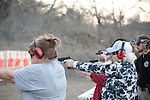 Kathy Carpenter, right with cap, practices during a concealed handgun training class offered to teachers and staff of Clifton Independent School District in Clifton, Texas. Ms. Carpenter, 70, is a substitute teacher at the school district. February 7, 2013. CREDIT: Lance Rosenfield/Prime