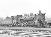 Engineer side view of K-36 #480 idling in the Chama yards.<br /> D&amp;RGW  Chama, NM  Taken by Payne, Andy M. - 6/11/1947
