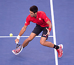 Novak Djokovic (SRB) battles Rafael Nadal (ESP) in the finals  at the US Open being played at USTA Billie Jean King National Tennis Center in Flushing, NY on September 9, 2013