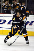 February 17th 2007:  Danny Briere (48) of the Buffalo Sabres takes warm-up shots before a game vs. the Boston Bruins at HSBC Arena in Buffalo, NY.  The Bruins defeated the Sabres 4-3 in a shootout.