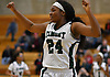 Kem Nwabuku #24 of Elmont reacts after her team's 58-51 win over Mount Sinai in the Class A varsity girls basketball Long Island Championship at SUNY Old Westbury on Saturday, March 11, 2017. She scored 20 in the Lady Spartans' victory.