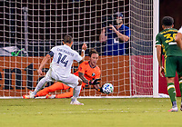 13th July 2020, Orlando, Florida, USA;  Los Angeles Galaxy forward Javier Hernandez (14) sees his Penalty Kick saved during the MLS Is Back Tournament between the LA Galaxy versus Portland Timbers on July 13, 2020 at the ESPN Wide World of Sports, Orlando FL.