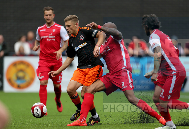 Regan Slater of Sheffield Utd in action with Emile Sinclair of Scarborough during the pre season match at the Flamingo Land Stadium, Scarborough. Picture date 15th July 2017. Picture credit should read: Richard Sellers/Sportimage