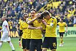 11.05.2019, Signal Iduna Park, Dortmund, GER, DFL, 1. BL, Borussia Dortmund vs Fortuna Duesseldorf, DFL regulations prohibit any use of photographs as image sequences and/or quasi-video<br /> <br /> im Bild Christian Pulisic (#22, Borussia Dortmund) jubelt nach seinem Tor zum 1:0 mit Thomas Delaney (#6, Borussia Dortmund) und Lukasz Piszczek (#26, Borussia Dortmund) <br /> <br /> Foto © nordphoto/Mauelshagen