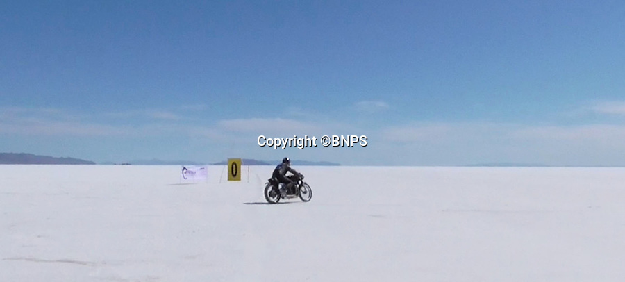 BNPS.co.uk (01202 558833)<br /> Pic: PhilYeomans/BNPS<br /> <br /> Turning onto the 7 miles track...<br /> <br /> Plucky pensioner Eric Patterson is celebrating after setting a string of two-wheeled land speed records - at the tender age of 68.<br /> <br /> Former painter and decorator Eric has smashed four world records on his motorbike after discovering a daredevil streak in his early 60s.<br /> <br /> Eric has ridden motorbikes all his life but only found a love for setting speed records in 2008 following divorce after 28 years of marriage followed by a cancer scare.<br /> <br /> The unlikely record breaker has since become an expert at coaxing powerful bikes to speeds of more than 130mph at the world renowned Bonneville salt flats in Utah, USA.