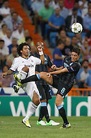 17.09.2012 SPAIN -  Champions League 12/13 Matchday 1th  match played between Real Madrid CF vs  Manchester City at Santiago Bernabeu stadium. The picture show Samir Nasri (Midfielders of Manchester City) and   Marcelo Vieira (Brazilian defender of Real Madrid)