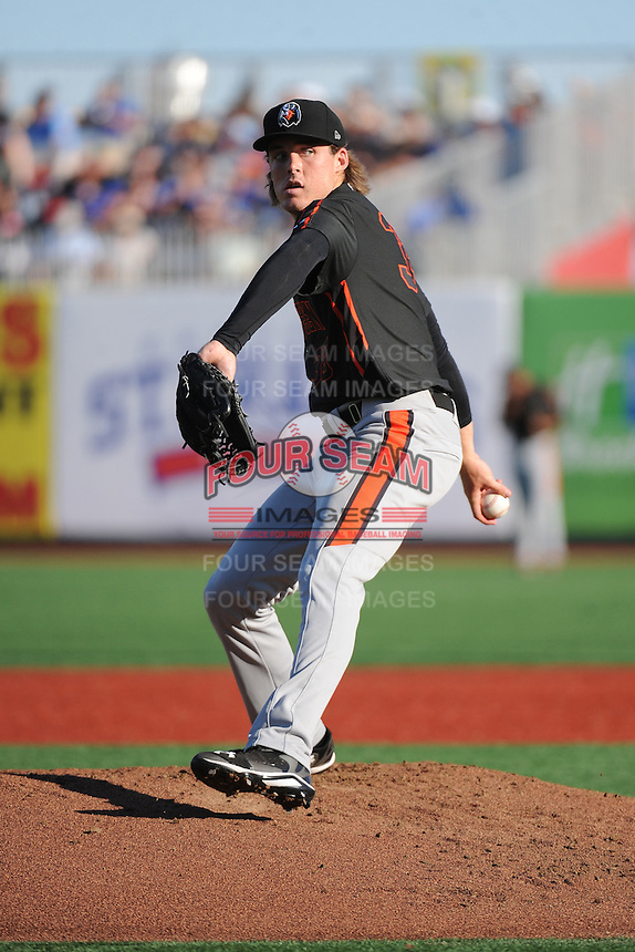 Aberdeen IronBirds pitcher Patrick Connaughton (35) during game against the Brooklyn Cyclones at MCU Park on July 5, 2014 in Brooklyn, NY.  Aberdeen defeated Brooklyn 18-2.  (Tomasso DeRosa/Four Seam Images)