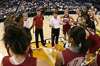 5 April 2008: Stanford Cardinal (not in order) head coach Tara VanDerveer, associate head coach Amy Tucker, assistant coach Bobbie Kelsey, assistant coach Kate Paye, Melanie Murphy, Jayne Appel, Michelle Harrison, JJ Hones, Candice Wiggins, Cissy Pierce, Kayla Pedersen, Hannah Donaghe, Rosalyn Gold-Onwude, Jeanette Pohlen, Ashley Cimino, Morgan Clyburn, and Jillian Harmon during Stanford's 2008 NCAA Division I Women's Basketball Final Four open practice at the St. Pete Times Forum Arena in Tampa Bay, FL.