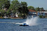 "Final heat: Winner Brandon Kennedy, GP-25 ""Miss KOMA Unwind"", celebrates victory with a ""Polish Victory Lap"".* (Grand Prix Hydroplane(s)<br /> <br /> *Made popular by Polish NASCAR driver Alan Kulwicki by taking a Victory Lap backwards around the race course."