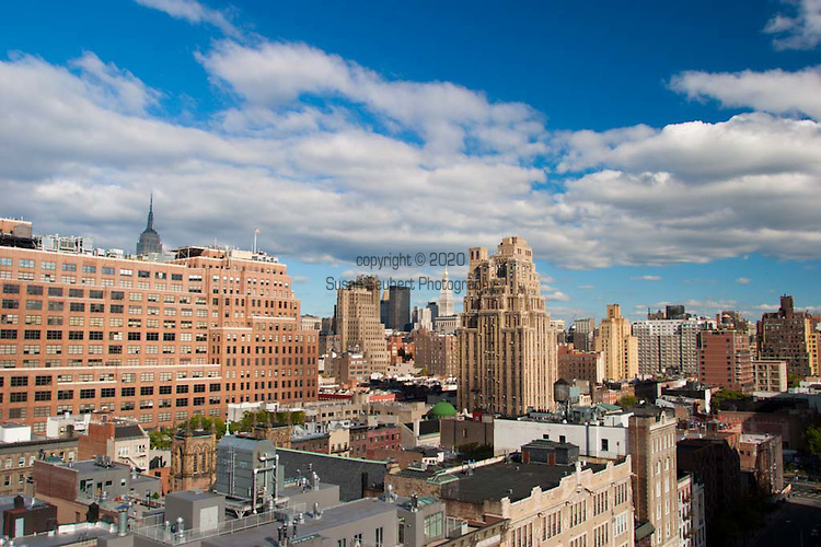 The skyline of Manhattan from the sky bar at the Hotel Gansevoort in the Meatpacking District.