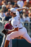 Texas Longhorns pitcher Corey Knebel #29 delivers a pitch to the plate against the Oklahoma Sooners in the NCAA baseball game on April 6, 2013 at UFCU DischFalk Field in Austin, Texas. The Longhorns defeated the rival Sooners 1-0. (Andrew Woolley/Four Seam Images).