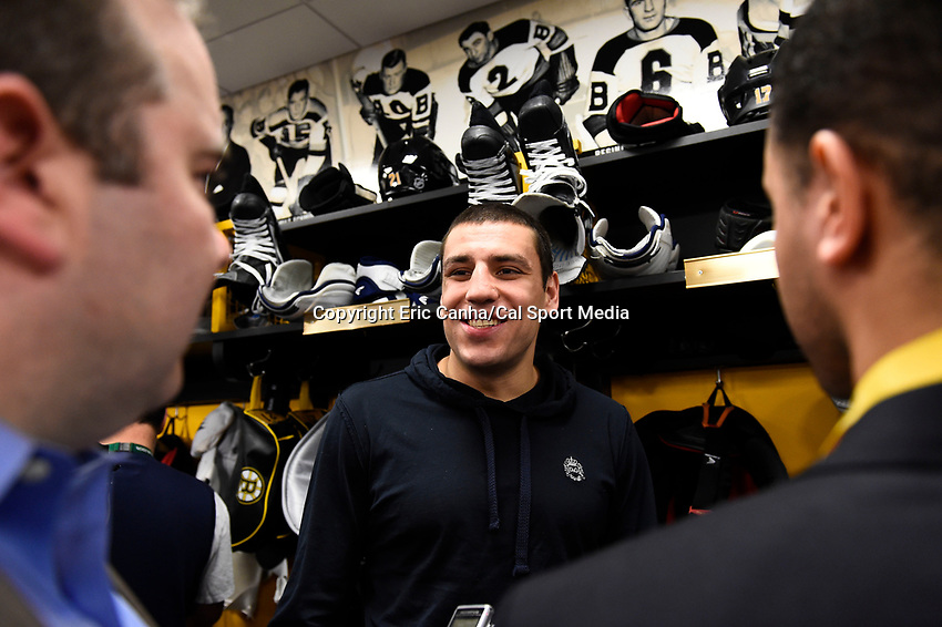 April 13, 2015 - Boston, Massachusetts, U.S. - Boston Bruins left wing Milan Lucic (17) speaks to the press at the Boston Bruins final season press conference held at TD Garden in Boston Massachusetts. Eric Canha/CSM