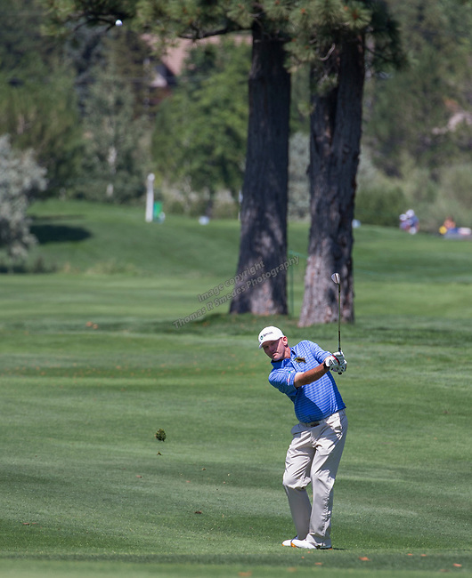Tommy Gainey swings during the Barracuda Championship PGA golf tournament at Montrêux Golf and Country Club in Reno, Nevada on Saturday, July 27, 2019.