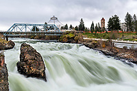 Spokane River Falls, Spokane Washington.  Spring flow makes for a dramatic waterfall.  What an amenity this river is to this city.