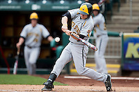 Garrett Bayliff #28 of the Wichita State Shockers swings at a pitch during a game against the Missouri State Bears at Hammons Field on May 5, 2013 in Springfield, Missouri. (David Welker/Four Seam Images)