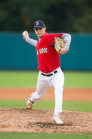 Jonathon Koletic (97) of Charlotte Catholic High School in Charlotte, North Carolina playing for the Boston Red Sox scout team at the South Atlantic Border Battle at Doak Field on November 1, 2014.  (Brian Westerholt/Four Seam Images)