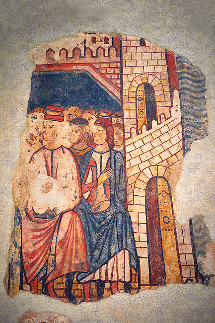 """Gothic fresco mural painting """"THE CONQUEST OF MAJORCA"""" 1285-1290. National Museum of Catalan Art, Barcelona, Spain, inv no: 071447-CJT. <br /> The mural paintings of the Conquest of Majorca come from the former ancestral home of the Caldes family in Carrer Montcada in Barcelona, a building later known as Palau Aguilar. Discovered and removed in 1961, these paintings are one of the most important examples of early or Linear Gothic Catalan painting. This magnificent example of painting on historical subject matter narrates the conquest of the island of Majorca by James I the Conqueror in 1229. Like a painted chronicle, the episodes follow the detailed narrative of Catalan medieval accounts such as King James I's 'Llibre dels Feits' and Bernat Desclot's 'Crònica'."""