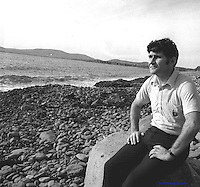 Mick O' Dwyer on Waterville beach where he owns a pub and hotel.<br />Pic: Don MacMonagle (1983)