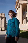 Kelly Nagle, 20, of Overland Park, Kan., a second-year student in the Realizing Educational and Career Hopes program at the University of Iowa in Iowa City, in front of the Old Capitol on campus. REACH is a certificate program for students with intellectual disabilities. Nagle hopes to work with the elderly and will interview for an internship at Pathways Adult Day Health Center in Iowa City.