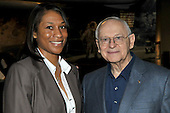 Jeannette Epps, a member of the Astronaut Class of 2009, left, poses for a photo with former Astronaut  Alan L. Bean, a veteran of Apollo 12 and the first Skylab mission, right, at the National Air and Space Museum in Washington, D.C. on Friday, July 17, 2009.<br /> Credit: Ron Sachs / CNP
