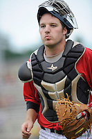 Catcher Jeremy Dowdy (25) of the Kannapolis Intimidators  in a game against the Charleston RiverDogs on Saturday, June 28, 2014, at CMC-Northeast Stadium in Kannapolis, North Carolina. Kannapolis won, 4-3. (Tom Priddy/Four Seam Images)