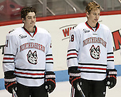 Brothers Nolan Stevens (NU - 21) and John Stevens (NU - 18) - The visiting University of Vermont Catamounts defeated the Northeastern University Huskies 6-2 on Saturday, October 11, 2014, at Matthews Arena in Boston, Massachusetts.
