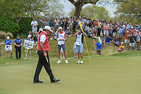 Phil Mickelson (USA) acknowledges the gallery after sinking his putt to win his match vs Rafael Cabrera Bello (ESP) during day 3 of the World Golf Championships, Dell Match Play, Austin Country Club, Austin, Texas. 3/23/2018.<br /> Picture: Golffile | Ken Murray<br /> <br /> <br /> All photo usage must carry mandatory copyright credit (&copy; Golffile | Ken Murray)