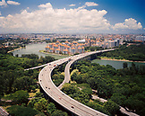 SINGAPORE, Asia, high angle view of a city with East coast Parkway