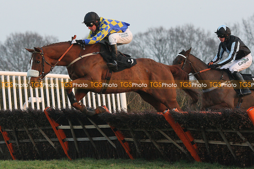 Celtic Charlie ridden by Colin Bolger jumps during the Hepworth Conqueror Stout At Plumpton Racecourse Handicap Hurdle - Horse Racing at Plumpton Racecourse, East Sussex - 12/03/12 - MANDATORY CREDIT: Gavin Ellis/TGSPHOTO - Self billing applies where appropriate - 0845 094 6026 - contact@tgsphoto.co.uk - NO UNPAID USE.