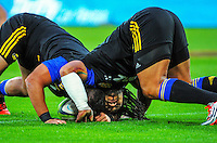 Ma'a Nonu warms up with Chris Eves (left) during the Super Rugby match between the Hurricanes and Stormers at Westpac Stadium, Wellington, New Zealand on Friday, 2 April 2015. Photo: Dave Lintott / lintottphoto.co.nz