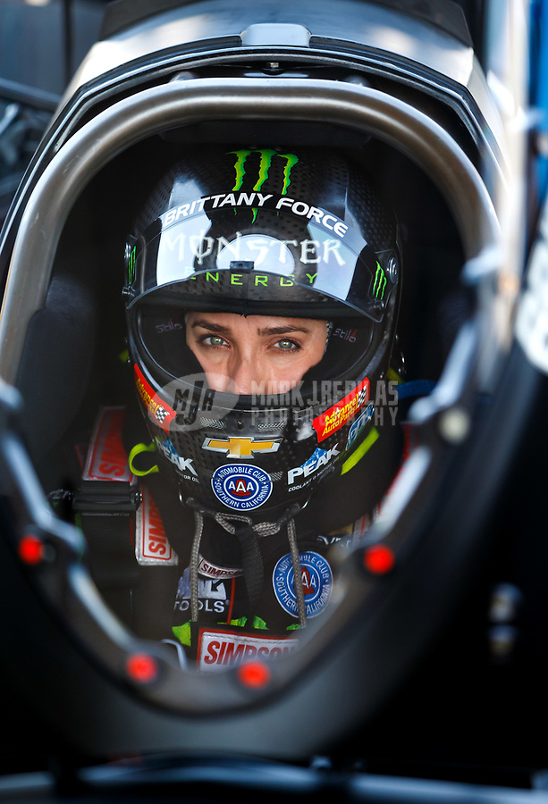 Jun 10, 2017; Englishtown , NJ, USA; NHRA top fuel driver Brittany Force during qualifying for the Summernationals at Old Bridge Township Raceway Park. Mandatory Credit: Mark J. Rebilas-USA TODAY Sports