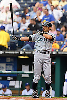 Seattle center fielder Ichiro Suzuki in action against the Royals at Kauffman Stadium in Kansas City, Missouri on May 26, 2007.  The Mariners won 9-1.